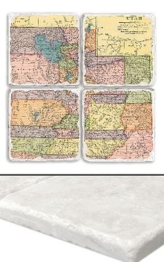 """Utah Map Coaster Set    An impressive collection of marble coasters featuring a beautifully colored map of Utah.   Each Utah coaster measures 4"""" x 4"""", and is constructed of high quality, Botticino tumbled marble.  A perfect gift for weddings, anniversaries, business gifts and any other special event in your life.  Best of all, these Utah coasters are artfully constructed in the USA!     Botticino Tumbled Marble  Each Tile Measures 4""""x4"""""""