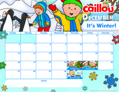 Can you believe it's already December! Stay Organized this Holiday Season with our Printable #Caillou Calendar! #25DaysofCaillou