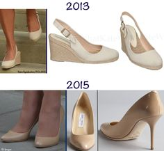 In comparing what the Duchess wore in July 2013 with what we saw barely two weeks ago, one notices subtle differences. The shoes were a sign Kate's look was just a bit more formal with this baby. Instead of 2013′s more casual espadrille-style wedge Kate opted for a dressier shoe, wearing her Gilbert heels by Jimmy Choo.
