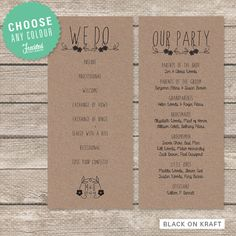 Wedding Program - Printable PDF - Rustic Floral