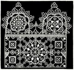 Reticella, plate C 2. From I singolari e nuovi disegni per lavori di bianchería (Remarkable and new designs for linen work), by Federico de Vinciolo, Bergamo, 1909. (This is a reprint of the 1606 edition of Les Singuliers et Nouveaux Pourtaicts, du...