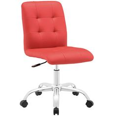 SKU: MO-EEI-1533-RED Etiquette presides over the properly styled Prim armless office chair. Modern to the touch, luxurious to the eye, Prim features deep tufted buttons, skilled faux leather upholster