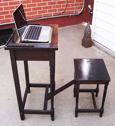 Antique HT Cushman Betumal Telephone Table With Stool 1910s 20s