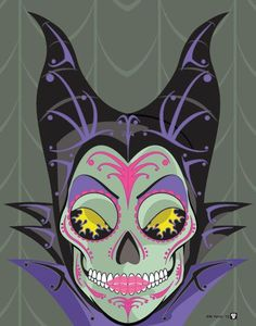 Maleficent Sugar Skull Print 11x14 print by Nutcracks on Etsy. Disney Villain Series.: