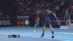 Roger Federer Hot Shot 'Catch' Basel 2015 Follow @atp_star #federer #Basel #atp_stap #atp #swiss