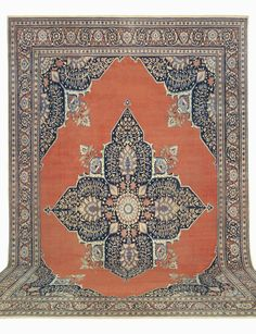 Hadji Jallili (Haji Jalili) Tabriz, 13ft 0in x 18ft 0in, Circa 1875. Highly engaging grandeur and a richly ornamental aesthetic elevate this spectacular formal antique Oriental carpet to seldom seen heights. From the master carpet designer, Hadji Jallili, its breathtaking cruciform medallion holds an exquisite assortment of lifelike blossom garlands and elegant floral sprays, extending into a softly striated rare terracotta reserve.