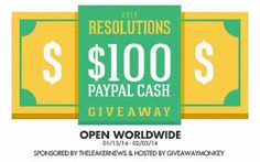 Enter to win $100 PayPal Cash in this #giveaway (ends 2-3-14)