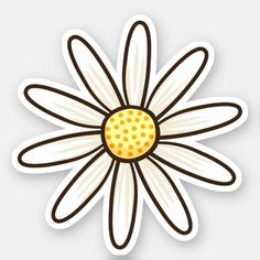 'White daisy' Sticker by Mhea - Hydroflask stickers Preppy Stickers, Pop Stickers, Bubble Stickers, Printable Stickers, Cartoon Stickers, Apple Stickers, Macbook Stickers, Scrapbook Stickers, Tumblr Sticker