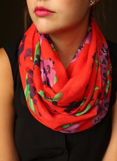 Red scarf with Purple flower pattern  Infinity Scarf by slyscarves, $30.00