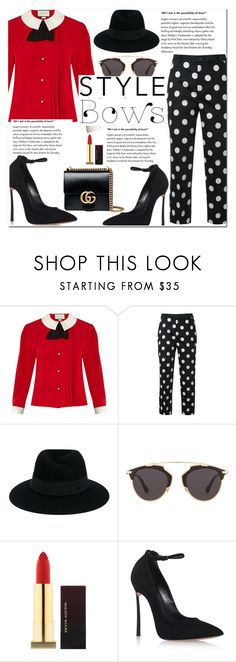"""""""November 8, 2016-.7.-"""" by adriianne ❤ liked on Polyvore featuring Gucci, Guild Prime, Maison Michel, Christian Dior, Kevyn Aucoin, Casadei, Pumps, bows, pants and gucci"""
