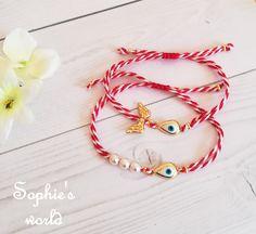 Μαρτάκια με επίχρυσο ματάκι και πέρλες ή φτερά επίχρυσα #martis18 #handmade #evileyes #martakia Macrame Bracelets, Mars, Washer Necklace, Handmade Jewelry, Jewellery, Thoughts, Earrings, Crafts, Stuff To Buy
