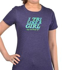Make a statement about your favorite sport with our Tri Like a Girl tee. Each light weight, heathered shirt features a slim, womans cut, and cap sleeves. Show off your passion for triathlon in style!
