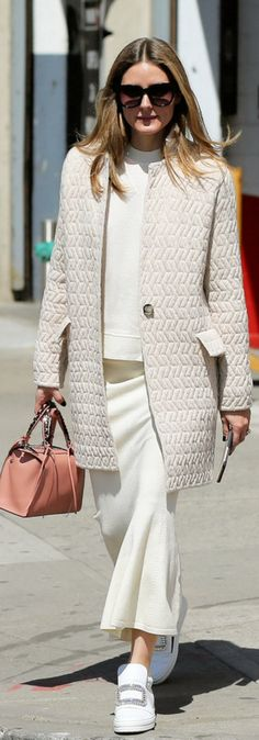 Who made Olivia Palermo's tan coat, white top, pink handbag, skirt, and crystal sneakers? April 10, 2017 #rogerviviersneakers