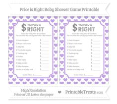 Pastel Purple Heart Pattern  Price is Right Baby Shower Game