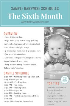 Sample Babywise schedules for the sixth month. The sixth month of baby's life comprises weeks 22-26. Baby is five months old. 5 month old sample Babywise Schedules. #babywise #baby #sampleschedule #fivemonthold #schedule #routine #sixmonthold #babylife #ezzo #onbecomingbabywise #babywisemom #motherhood