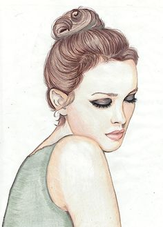 high bun, dark eyes, soft pink rose lips