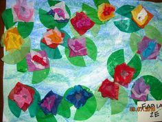 """Tissue paper art reminiscent of Monet's Water Lilies. In the 6th grade I had a picture of a farm done with this technique that was chosen to be shown at the Cincinnat Art Museum. It was quite intricate with animals, crops, barn and a lake. My parent's comment? """"Your fence looks like a real fence."""" I could tell they were searching for something positive to say. It was quite fun to do though, which is my point of pinning this."""
