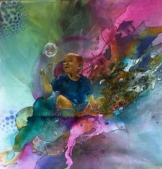 """Ursi Goetz, """"Auf Wolke 7"""" Mit einem Klick auf """"Als Kunstkarte versenden"""" versenden Sie kostenlos dieses Werk Ihren Freunden und Bekannten. Painting, Idea Paint, Abstract, Art Production, Painting Art, Paintings, Painted Canvas, Drawings"""