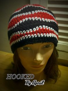 BrAinWave tricolor adult beanie by HookedByApril on Etsy, $12.00