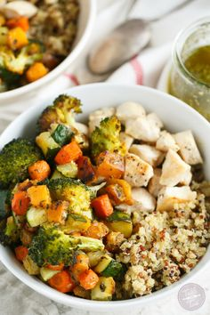 Quinoa bowls with roasted vegetables and chicken is a great way to get your veggies and protein in one large serving!