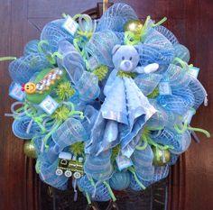 Baby Boy Deco Mesh Wreath by HertasWreaths on Etsy, $85.00
