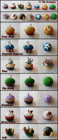 The Avengers Cupcakes by *cheese-cake-panda Polymer Clay Cupcake, Fimo Clay, Polymer Clay Projects, Polymer Clay Charms, Cute Crafts, Diy Crafts, Avenger Cupcakes, Cute Clay, All I Ever Wanted
