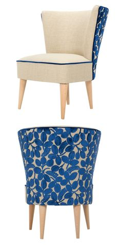 Our Norma Chair is upholstered in stunning indigo Designers Guild fabric.