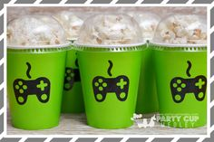 Video Gamer Birthday Party Favor Cups, Dome Lids-Set of 8, 10 or 12 by PartyCupMedley on Etsy
