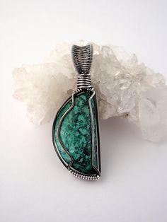 Chrysocolla Pendant ~ EcoFriendly Recycled Sterling Silver ~ Handcut Natural Stone ~ Handmade Pendant ~ Half Moon Talisman ~ Lunar Jewellery