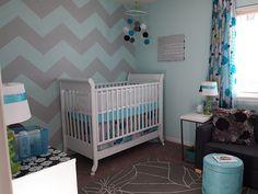 Evy's Nursery with Chevron Striped Wall!