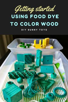 Simple and quick guide to using food dye to colour wood for DIY pet rabbit toys