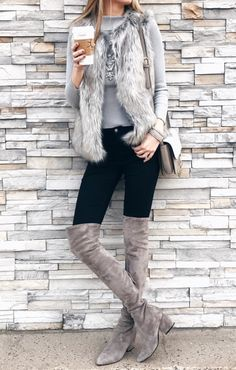 gray fur vest with black denim leggings and gray suede over the knee boots on cyber monday sale