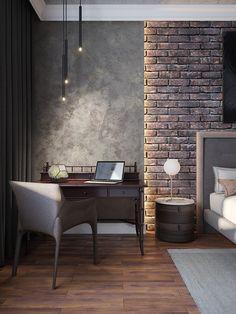 Enhance Your Senses With Luxury Home Decor Bedroom Bed Design, Home Bedroom, Brick Bedroom, Brick Interior, Interior Design Living Room, Loft Design, House Design, Loft Interiors, Luxury Home Decor
