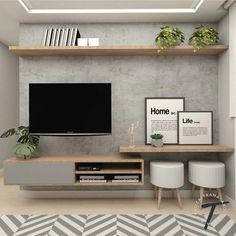 Excellent small living room designs are offered on our site. Take a look and you will not be sorry you did. Home Living Room, Interior Design Living Room, Living Room Decor, Tv On Wall Ideas Living Room, Living Room Tv Unit Designs, Muebles Living, Tv Wall Design, Tv In Bedroom, Diy Bedroom