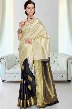 Off white & black silk weaved half & half saree in gold & black pallu