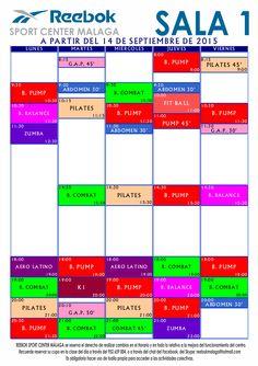 Horario de actividades colectivas en Sala 1, a partir del 14/Sep/2015. Más información en http://reebokmalaga.com/horarios