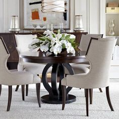 Virage Wood Round Dining Table in Truffle