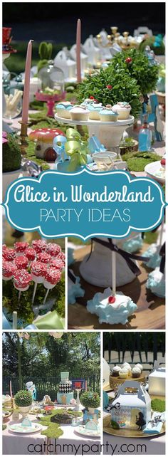 What a fantastic Alice in Wonderland party with a great cake! See more party ideas at Catchmyparty.com!