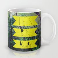Coffee Mugs featuring Let's Run Away: Forest Park by Leah Flores