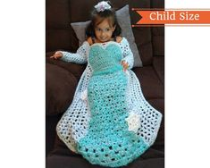 f6c7b10df3bc15 Princess Dress Blanket Crochet Pattern, Ice Princess Birthday Gift to make,  Crochet Throw PDF Patter