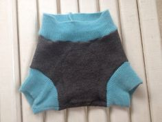 Small upcycled charcoal merino wool soaker with teal by Jamnee, $12.00