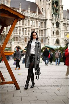New look with leather hotpants and silver coat at Munich Weihnachtsmarkt