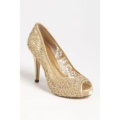 Menbur 'Strass' Pump (1 815 UAH) ❤ liked on Polyvore featuring shoes, pumps, champagne, leather pumps, champagne pumps, peep-toe pumps, peep toe platform shoes and leather peep toe pumps