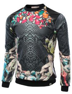 SMITHJAY Mens Hip-Hop Premium Snake Skin Print with Leather Trim Sweatshirt #smithjay