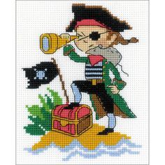 """Brave Pirate Counted Cross Stitch Kit-5""""X6.25"""" 14 Count Cross Stitch Fabric, Cross Stitching, Cross Stitch Patterns, As Aventuras De Babar, Cotton Quilting Fabric, Counted Cross Stitch Kits, Le Point, Beading Patterns, Embroidery Patterns"""