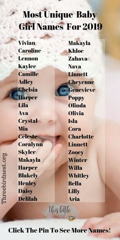 Baby girl names | Unique Baby Names 2019 Here's an amazing list of over 100 unique baby girl names that you're gonna love. I bet you find her name on this list! Check it out! #babynames #babygirlnames #girlnames #uniquebabynames