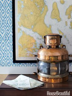 """""""A French ship's copper lantern"""" . . .you can never go wrong with copper."""