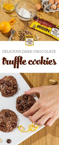 Delicious dark chocolate cookies meet velvety truffle richness in this mouthwatering dessert. With hints of pistachio, orange zest and sea salt plus NESTLÉ® TOLL HOUSE® Dark Chocolate Morsels, these Dark Chocolate Truffle Cookies make a delightful holiday treat. Discover a dessert recipe that is easy to make and perfect for entertaining or gift-giving. Get the recipe now.