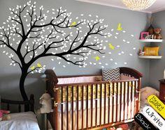 Farbkombination   Treppe Eventuell Nicht So Ganz Geeignet White Tree  Nursery Wandtattoo Baum Und Vögel Von Wandtattoos Auf DaWanda.com |  Pinterest | Babies, ...