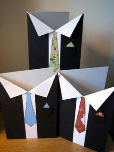 TUTORIAL by Anso - masculine card... suit & tie...(needs to be converted to 'inches' - instructions are in metric measurements)